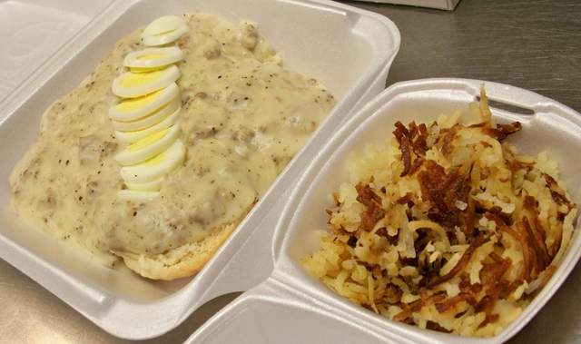 Sausage Gravy & Biscuits, Hashbrowns